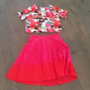 H&M skirt and free crop top hot pink red 8 6 small